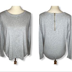 Crown & Ivy Heather Gray Exposed Zipper Sweater M